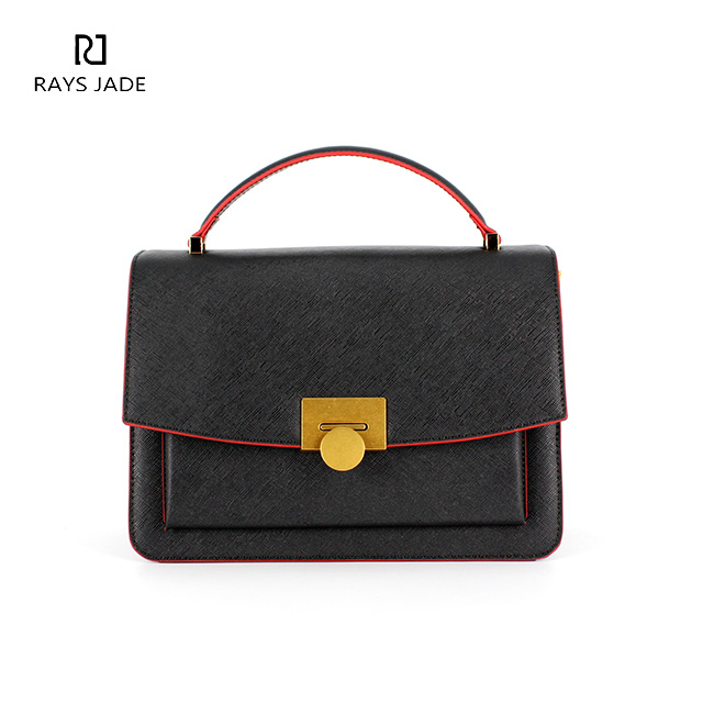 1726d1b910f2 AW2019 Contrast Red Edge Black Leather Satchel Bag - Rui Xin Leather bag  factory - Leather backpacks