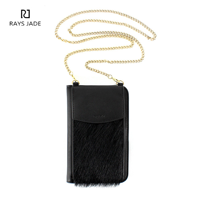 adbd8023e9 AW2019 Black Leather chain Wallet with Cell Phone Case - Rui Xin ...
